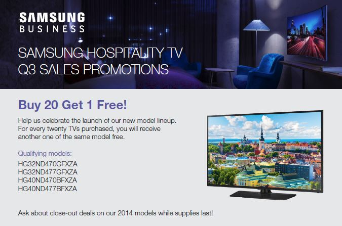 samsung hospitality tv promotions knitec. Black Bedroom Furniture Sets. Home Design Ideas